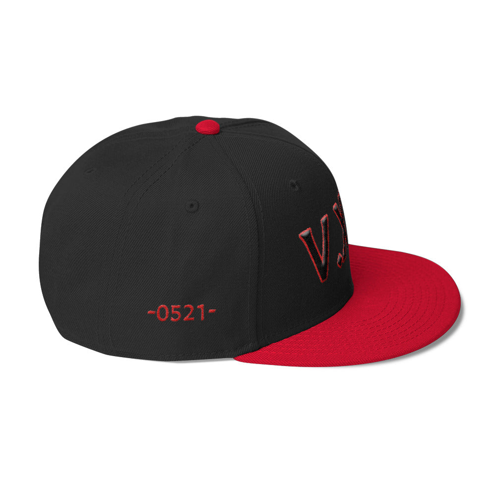 V. XXI (-0521-) Wool Blend Snapback w/Black Puff Lettering/Red Background