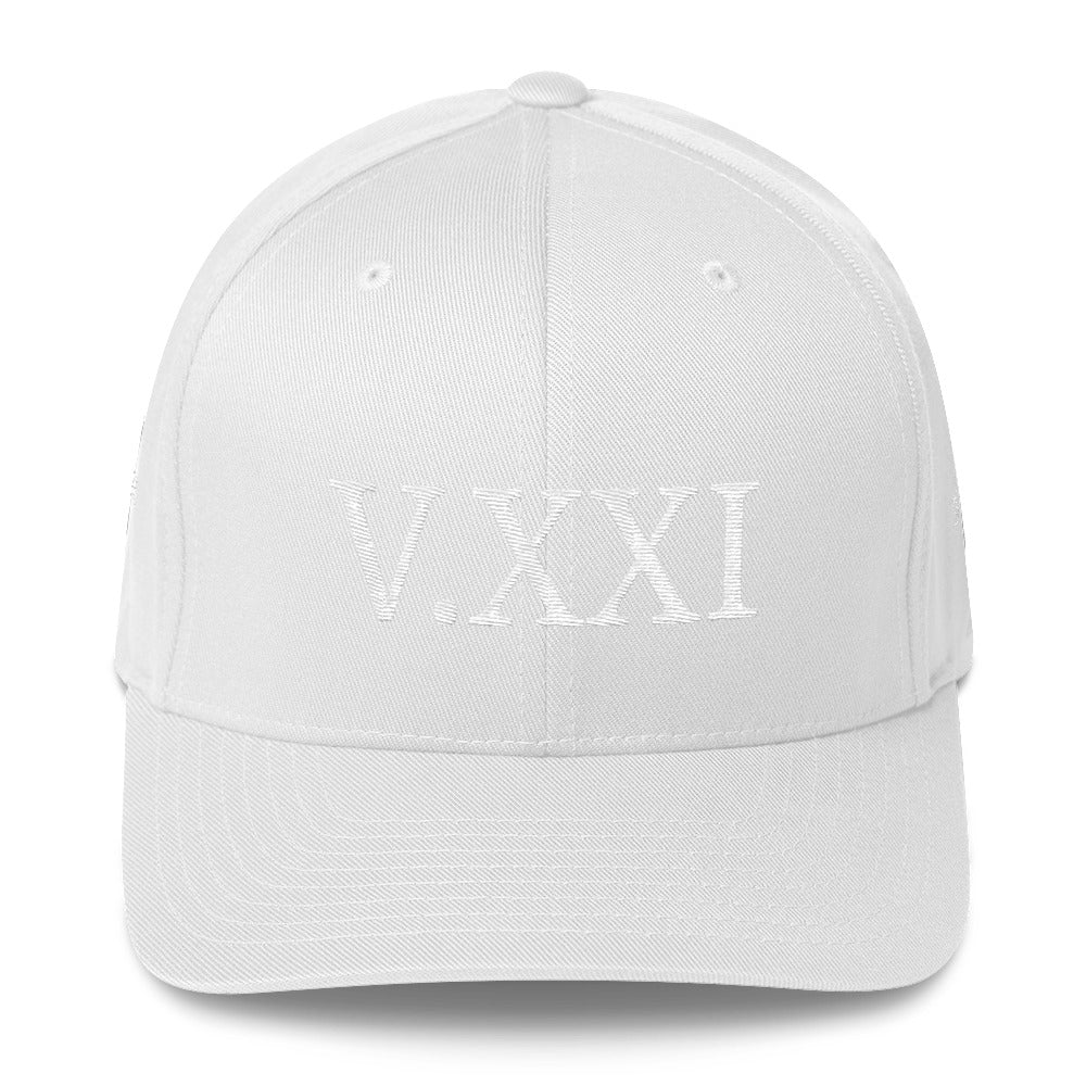 V.XXI (0521) Fitted Cap White Lettering