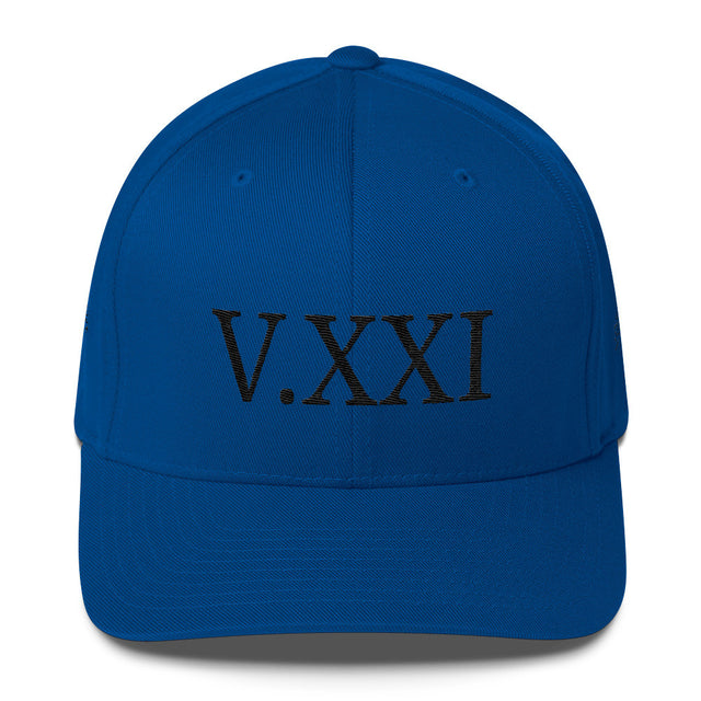 V.XXI (-0521-) Fitted Twill Cap w/Black Embroidery