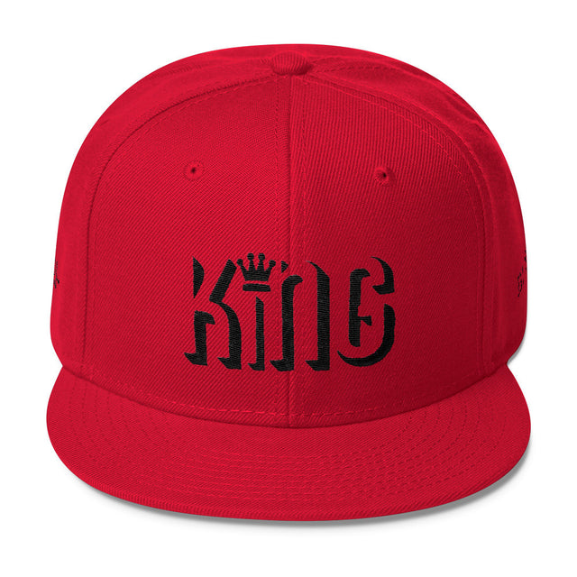 """King"" Wool Blend Snapback w/Black Embroidery"