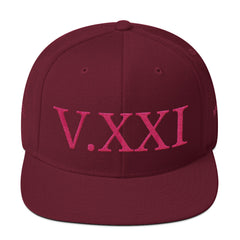 V.XXI (-0521-) Wool Blend Snapback w/Pink Embroidery