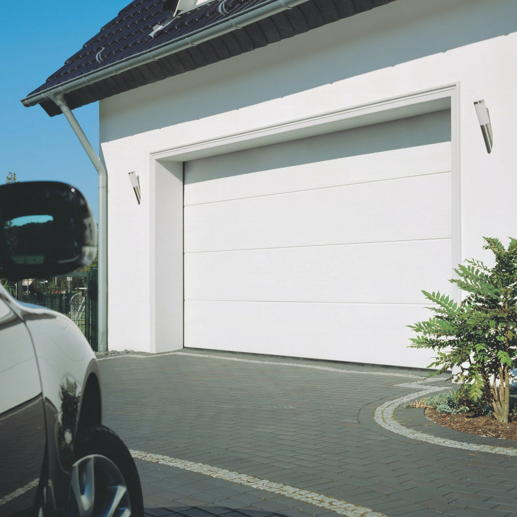 Garage door sectional panel lift flat line white house
