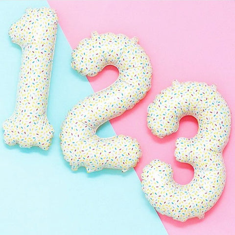 Confetti Print Foil Numbers 1, 2, 3, 4, 5