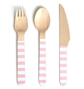 Pink Stripe Wooden Cutlery