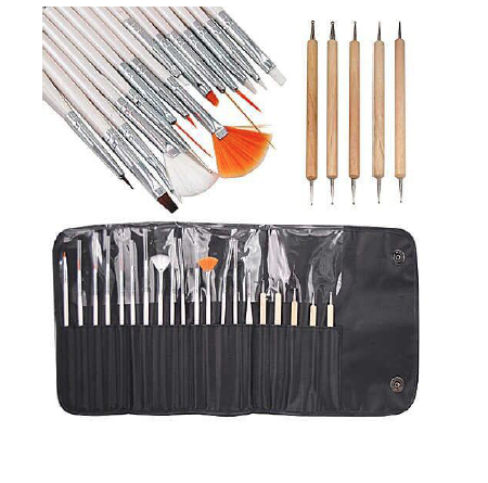 Premium affordable brushes for at home or professional use. Three drawing tools, seven painting tools (also can be used as gel nail curing brushes), two liners, one dotting tool, two fan brushes for nail art effect. Plus an extra 5 dotting pens!