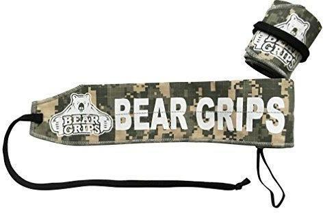 Wrist Brace for Workout Bear Grips:Adjustable Strengthening Wrist Wraps Patented Thumb Loop for Easy wrap Ideal Wrist Support camo, Black, Blue, Pink, one-Size, Pairs, Two Wrist Straps per Pack