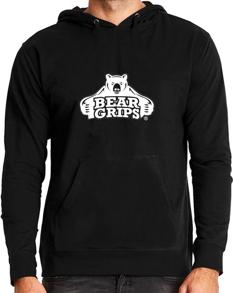 Men's Hooded Sweatshirt - Large White Logo-Men's Apparel-BearGrips