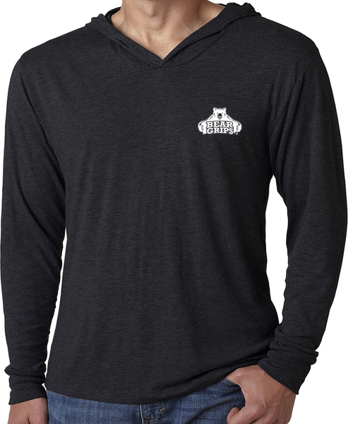 Men's Long-Sleeve Hoodie - Small White Logo-Men's Apparel-BearGrips