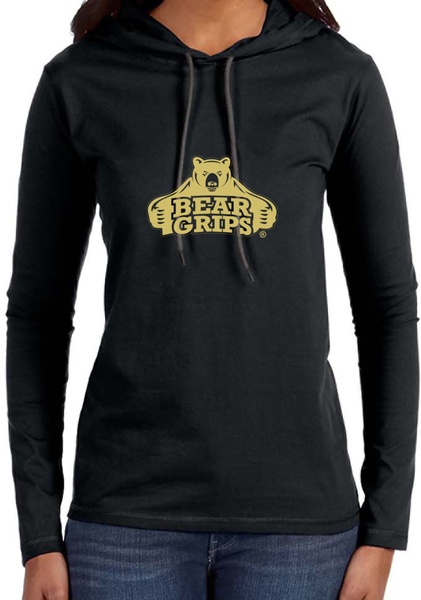 Women's Long-Sleeve Hoodie - Large Gold Logo-Women's Apparel-BearGrips