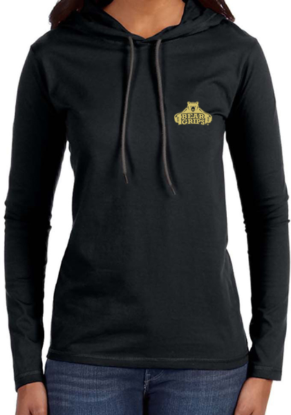 Women's Long Sleeved Hooded Shirt - Small Gold Logo-Women's Apparel-BearGrips