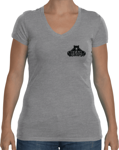 Women's Sport V-Neck - Small Black Logo-Women's Apparel-BearGrips