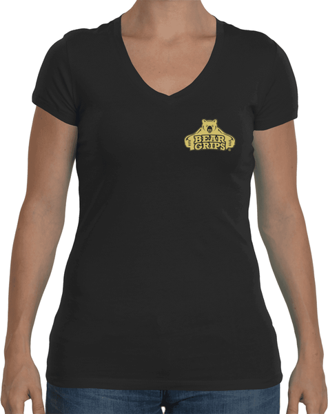 Women's Sporty V-Neck - Small Gold Logo-Women's Apparel-BearGrips