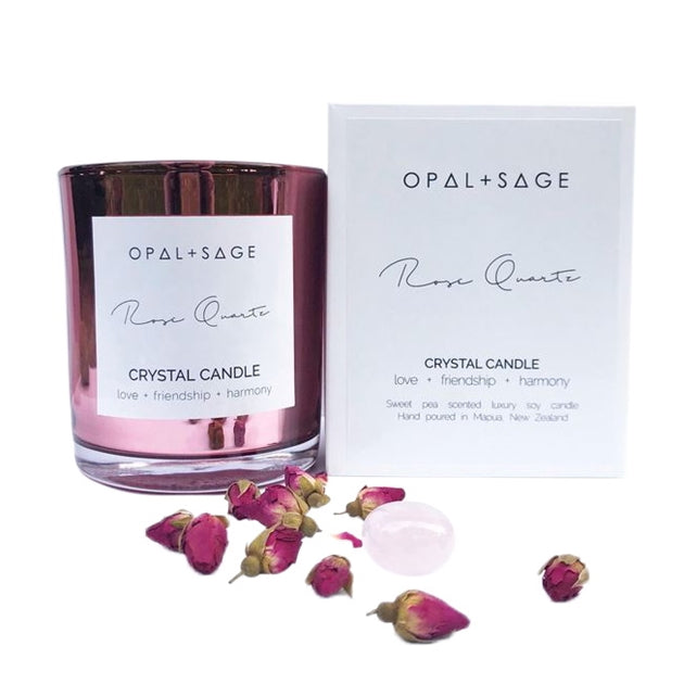 Opal and Sage - Rose Quartz Candle