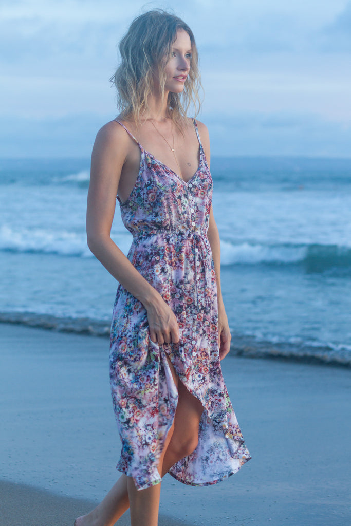 Jade High-Low Dress in Multi Floral by KAYVALYA