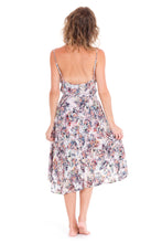 Floral midi dress with buttons down front in high-low style