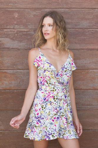 Raya Wrap Dress in Lemon Floral by KAYVALYA