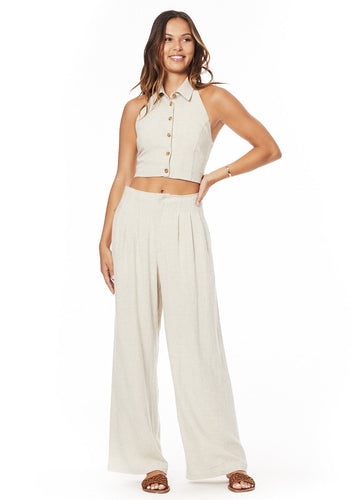 Linen Wide Leg Pants in beige by Charlie Holiday