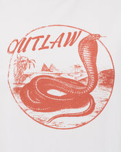 white tee with outlaw text and rattlesnake in standard fit with slight stretch