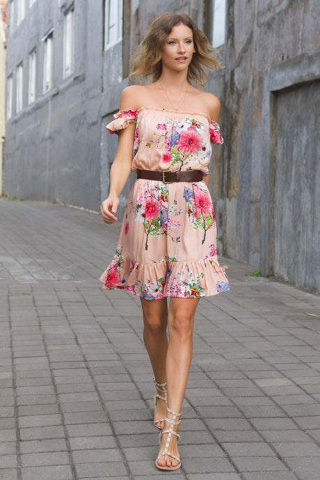 Off Shoulder Dress in Pink Floral by KAYVALYA