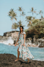 Floral maxi wrap dress by XIX Palms in Aqua Blue