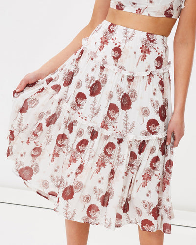 Floral tiered midi skirt by Australian brand Charlie Holiday