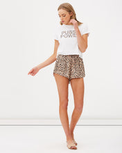 Leopard print high waist shorts with elastic waistband by Charlie Holiday