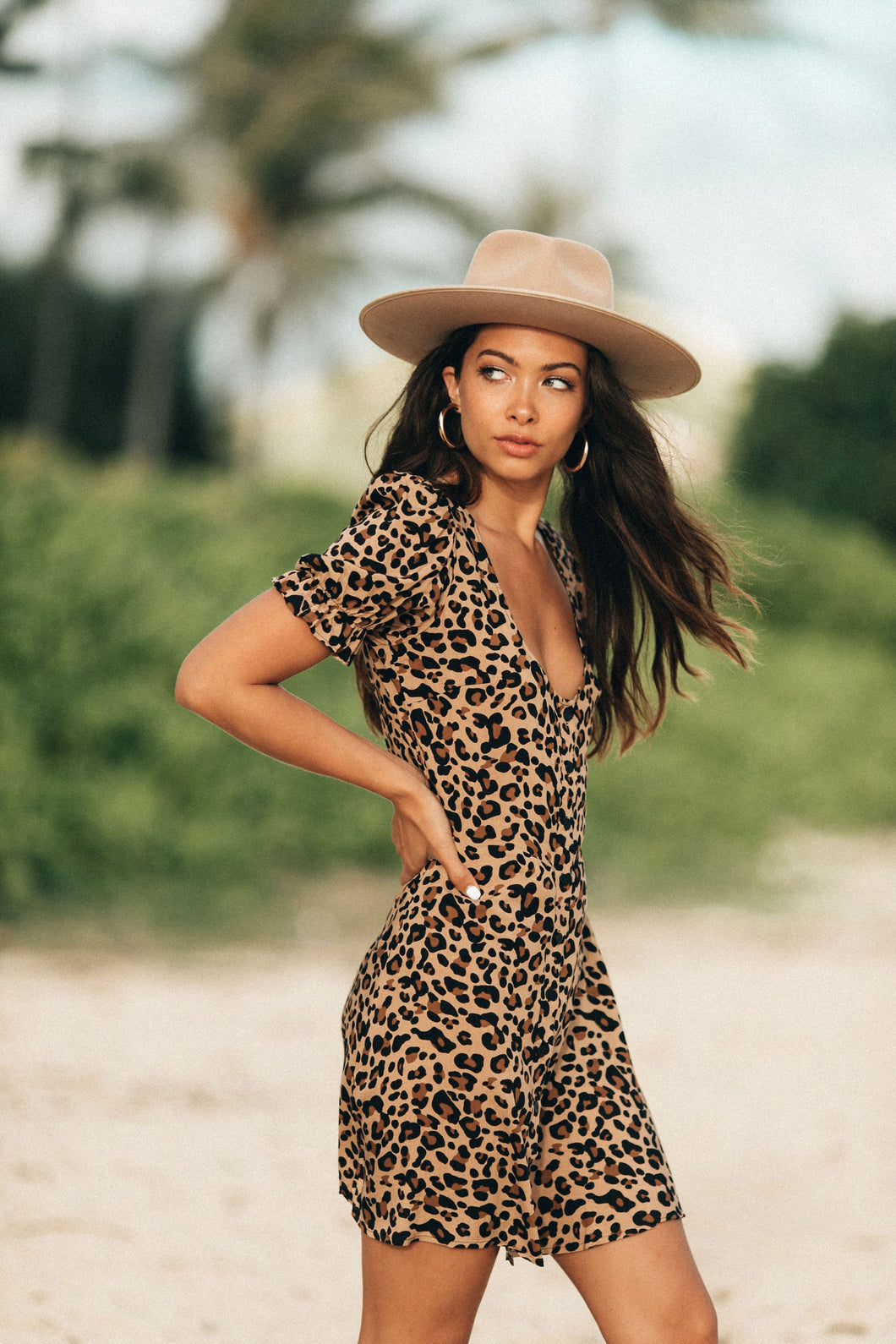 leopard print mini dress with buttons down front and puff sleeves by XIX Palms