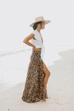 leopard print maxi skirt with slit up leg by XIX Palms