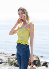 yellow lemon lime smocked tank top by Lost + Wander with button detail down front