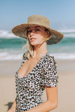 leopard print maxi dress with button down front and puff sleeves by XIX Palms