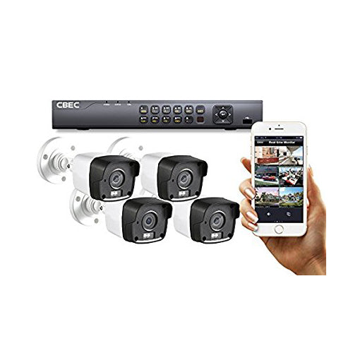 4 CH HD 【3MP】 Security Camera System Remote iPhone Android APP HDMI Night Vision MATRIX IR