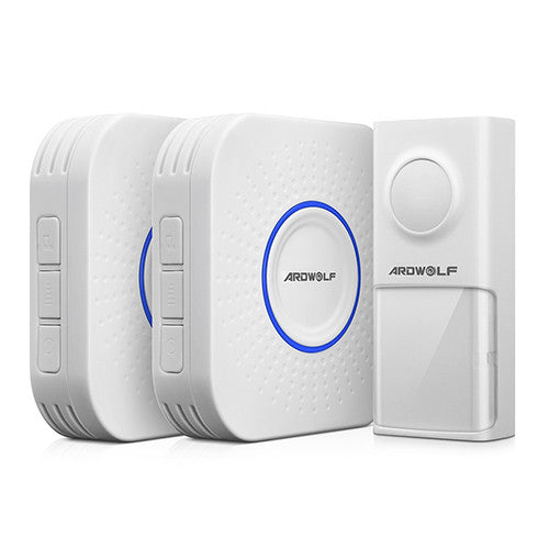 Ardwolf Wireless Doorbell System - 500 feet range with 58 Melodies with LED Notification (1 Doorbell + 2 Receiver) - ES Whosale