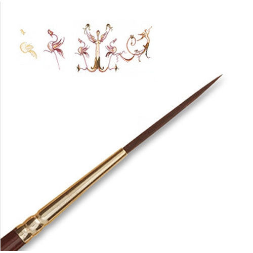 Raphael Brush No. 0 8520 Script Fine Liner Brush Fiber For Acrylic Sepia Deco