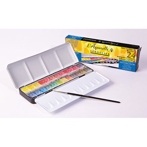 Sennelier Watercolor Cake N131606 24Clrs Metal Box