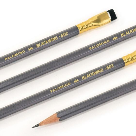 Blackwing Wooden Pencil 103781 Blkwing 602  Gunmetal Grey Finish Firm Graphite Blk Eraser
