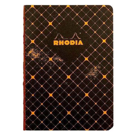 Rhodia Notebook 117174C Raw Binding Nbk Quadrille Black A5 80 Numbered Sh. 5/5 Squared Heritage