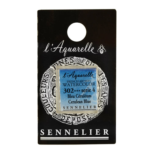 Sennelier Watercolor Cake N131541 302 S4 Cerulean Blue Aquarelle Half Pan