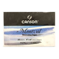 Canson Watercolor Paper 03022596 4X6 Monval 25Shts 270Gsm Post Card