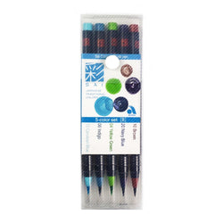 Sai Brush Marker Xca2005Vb 5Colors Brown Navy Blue Yellow Green Indigo Cerulean Blue