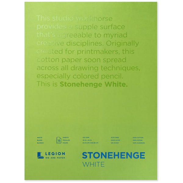 Legion stonehenge pad white 18 x 24 in 250 gsm