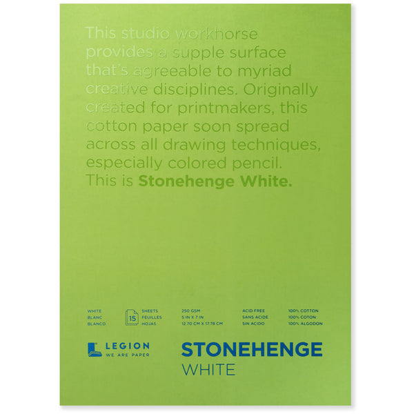 Legion stonehenge pad white 5 x 7 in 250 gsm