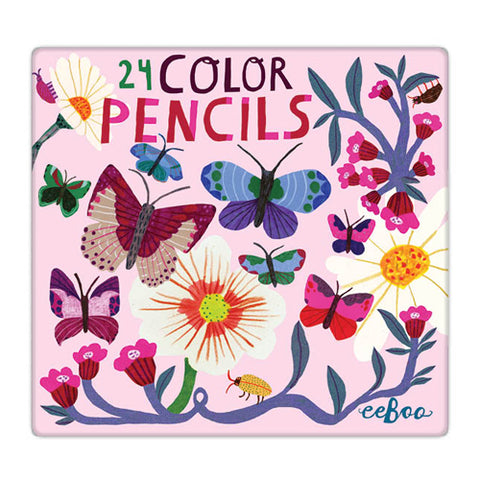 Eeboo Colored Pencil Pnbuf 24 Pencils In Tin Box Butterflies And Flowers