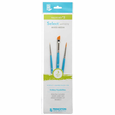 Select Brush Set 3750Set102 3Pcs Short Liner 18/0, Angle Shader 1/4, Round No.2 Golden Taklon Synthetic