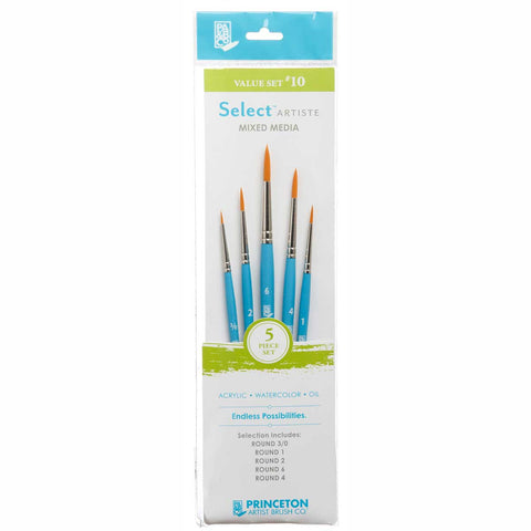 Select Brush Set 3750Set110 5Pcs Round 3/0, 1,2,4,6 Golden Taklon Synthetic