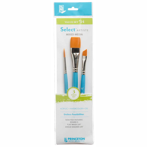 Select Brush Set 3750Set114 3Pcs Round 5, Flat Wash 3/4, Angle Shader 3/8 Golden Taklon Synthetic
