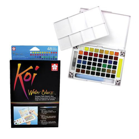 Sakura Watercolor Cake Xncw-48 48Clrs Koi Pocket Field Sketch Box