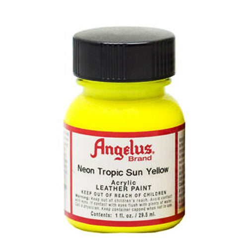 Angelus  Acrylic Leather Paint 725 Neon-127 Tropical Sun Yellow 1 Oz