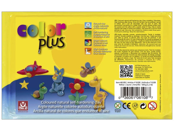 Activa Color Plus Colored Air Dry Clay 6108 1.1 Lb Yellow
