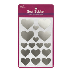 Craftsy Seal Sticker Silver Heart Stk1602 4 Sheets