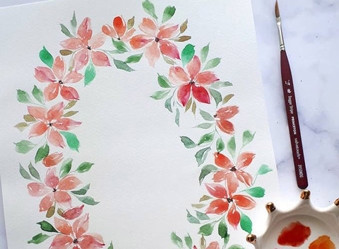 Floral Wreath in Watercolors Workshop by Nina Hidalgo